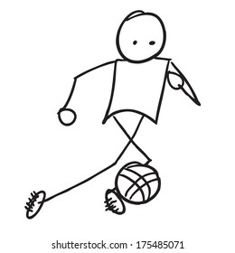 Doodle Soccer player vector