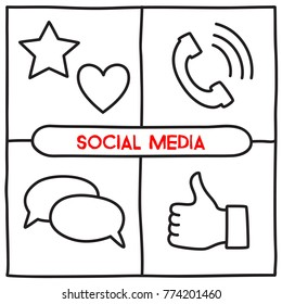 Doodle social media icons in line art style. Vector illustration