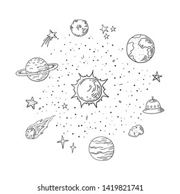 Doodle solar system. Trendy hand drawn space, sketch planet meteor comet astronomy elements. Vector lineart illustrations