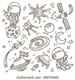 doodle space collection. Set of vector doodle hand drawn outlines astronauts, planets, stars, spaceships for wallpapers, scrapbooking, web page backgrounds,textile