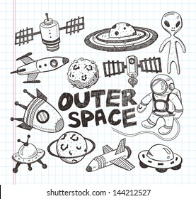doodle space element icons, illustrator line tools drawing