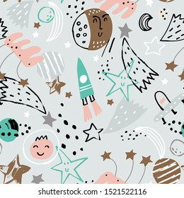 Doodle space elements seamless pattern. Cosmos cute illustration. Vector illustration. Seamless pattern with cartoon space rockets, planets and stars.