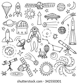 Doodle space elements. Vector illustration with hand drawn doodle space elements