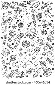 Doodle space elements. Vector illustration with hand drawn doodle space elements for wallpaper, wrapping, textile prints. Vector Illustration. eps10