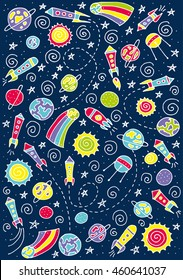 Doodle space elements. Vector illustration with hand drawn doodle space elements for wallpaper, wrapping, textile prints. Vector Illustration. eps10