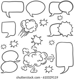 Doodle of speech bubble style hand draw