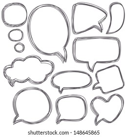 Doodle speech bubbles. Different sizes and forms. Vector illustration.