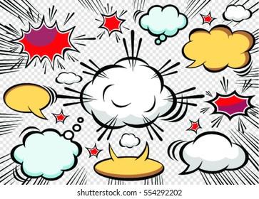 Doodle  of speech comic bubbles. Comic sound effect.Vector illustration.