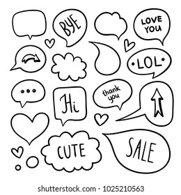 Doodle speech and thought bubbles elements. Chat clouds hand drawn designs
