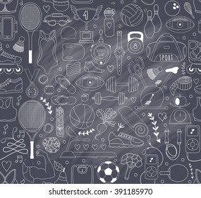 Doodle sports elements. Vector illustration with fitness icons in handdrawn style.  Sport and fitness seamless doodle pattern
