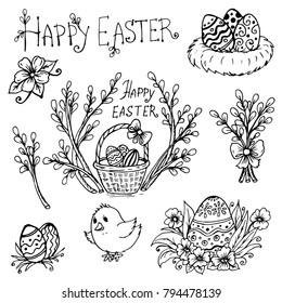 doodle spring is willow, easter eggs, chick, eggs with flowers and eggs in the nest, Happy Easter