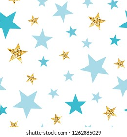 Doodle star seamless pattern background Blue and gold star. Abstract gold glitter stars seamless texture card poster album book fabric t shirt wrapping paper Gold glitter texture Vector illustration.