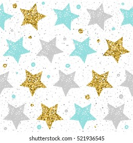 Doodle star seamless pattern background. Grey, blue and gold star. Abstract star seamless pattern for card, invitation, poster, album, book, fabric, t shirt, wrapping paper etc. Gold glitter texture.