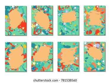 Doodle Stars and Brush Strokes. Set of Bright Covers in Style of Early 90s. Retro Card Design with Firework. Trendy Texture for Posters, Brochures or Book Covers