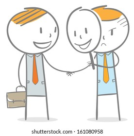 Doodle stick figure: Businessman making a deal with a man behind smile face mask