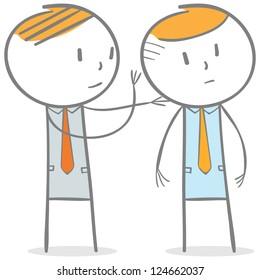 Doodle stick figure: Businessman whispering a secret to other