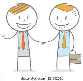 Doodle stick figure:  businessmen handshake