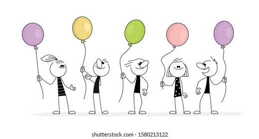 Doodle stick figure: Happy People with balloons. Hand drawn cartoon vector illustration for business or school design.