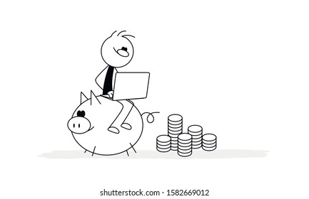 Doodle stick figure: little man sitting on a piggy bank with laptop, banker are engaged in work. Hand drawn vector for business design.
