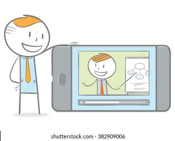 Doodle stick figure: A man having video chat with teacher on his phone in home