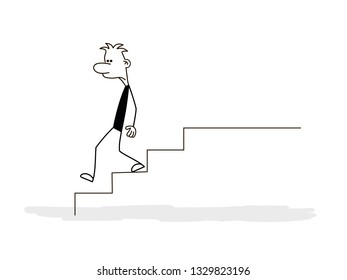 Doodle stick figure: man, manager down stairs. Business concept of teamwork. - Vector
