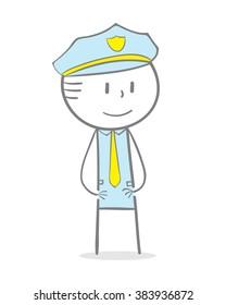 Doodle stick figure: A man wearing a police uniform