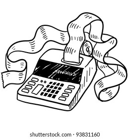 Doodle style adding machine or tax accounting sketch in vector format