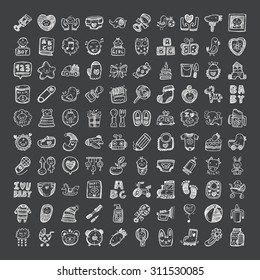 doodle style baby icons