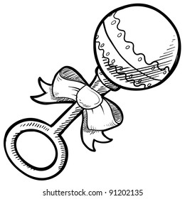 Doodle style baby rattle illustration in vector format suitable for web, print, or advertising use.