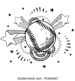 Doodle style baseball illustration in vector format with retro 1970s pop background