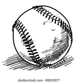 Doodle style baseball sports vector illustration
