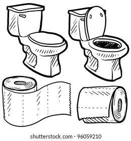Doodle style bathroom objects illustration including toilet and paper in vector format.