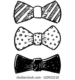 Doodle style bow tie men's clothing assortment in vector format.