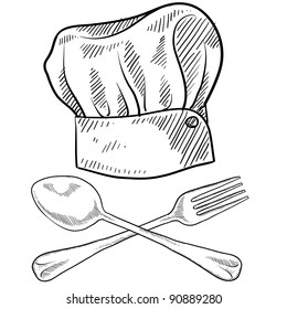 Doodle style chef hat with fork and spoon in vector format