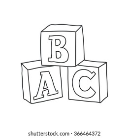 Doodle style children's block toys with alphabet on them in vector format
