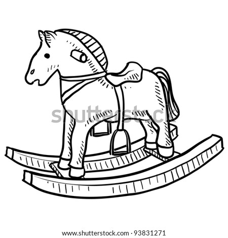 Doodle Style Childs Rocking Horse Toy Stock Vector Royalty Free