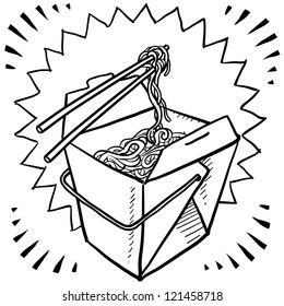 Doodle style Chinese food takeout boxes with chopsticks and noodles in vector format.
