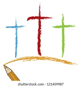 Doodle style Christian Calvary crosses sketch in vector format.  Looks like colored pencil.  Useful for Easter designs.