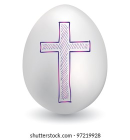 Doodle style Christian cross sketch on decorated holiday Easter Egg in vector format