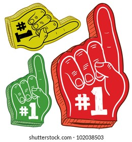 Doodle style colorful foam fingers used at stadiums and ballparks to cheer on your team. Vector file.