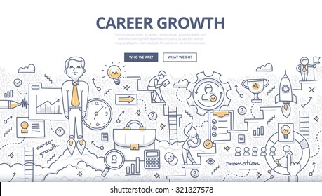 Doodle style concept of career growth, selecting candidates, career ladder, corporate opportunities, human resource management. Modern line illustration for web banners, hero images, printed materials