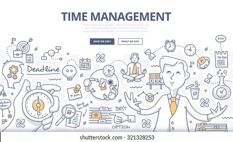 Doodle style concept of effective businessman who plans and organizes working time, deals deadlines, achieves goals. Modern line style illustration for web banners, hero images, printed materials