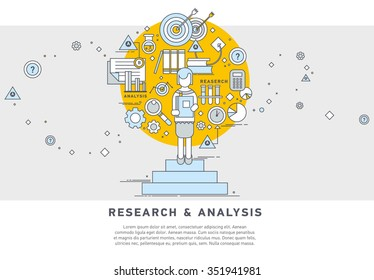 Doodle style concept of general research & analysis, problem solving, collecting data, scientific technologies approach.  Flat illustration for web banners, hero images.
