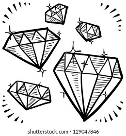 Doodle style diamond gem variety illustration in vector format.