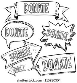 Doodle style Donate message tags, labels, banners and arrows in vector format. Can be used as an overlay, as background, or for a sticker effect on web or print materials.