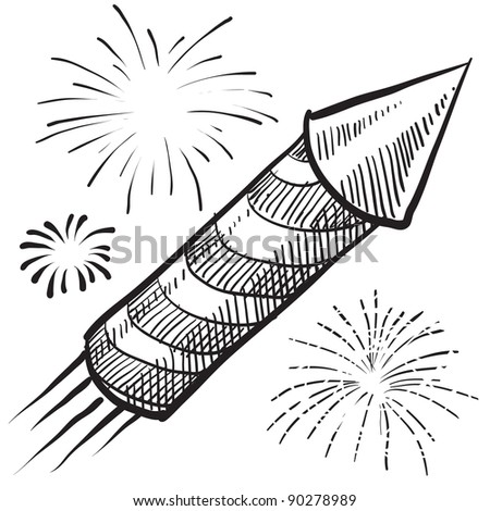 doodle style fireworks or new year vector illustration