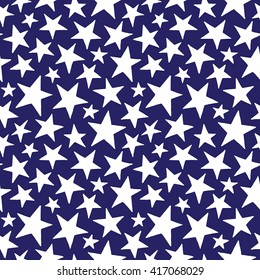 Doodle style five-pointed stars of different size seamless vector pattern. Simple independence day background. Free hand drawn star shapes. American flag stars texture.