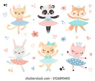 Doodle style flat vector ballet animals. Ballerinas cat, panda, fox, bunny, dog, pig