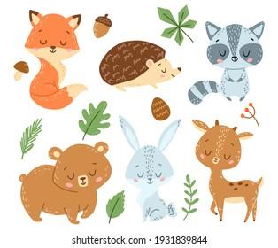 Doodle Style Flat Vector Cartoon Forest Animals Set
