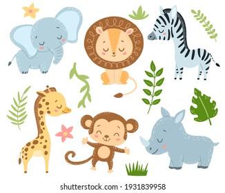 Doodle Style Flat Vector Cartoon Safari Animals Set